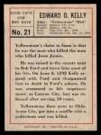 1966 Leaf Good Guys Bad Guys #21  Yellowstone Kelley  Back Thumbnail