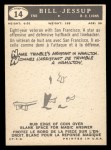 1959 Topps CFL #14  Bill Jessup  Back Thumbnail