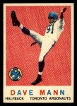 1959 Topps CFL #60  Dave Mann  Front Thumbnail