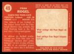 1958 Topps CFL #49  Fran Rogel  Back Thumbnail