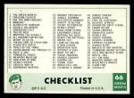 1966 Philadelphia Green Berets #66   Checklist Front Thumbnail