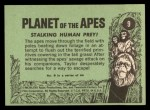 1969 Topps Planet of the Apes #9   Stalking Human Prey Back Thumbnail
