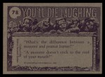 1973 Topps You'll Die Laughing #78   Try it you'll like it Back Thumbnail