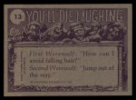 1973 Topps You'll Die Laughing #13   If it comes with two pair of pants Back Thumbnail