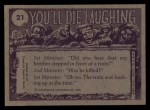 1973 Topps You'll Die Laughing #21   Could you direct me Back Thumbnail