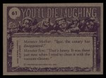 1973 Topps You'll Die Laughing #61   Wait till I get my hands Back Thumbnail