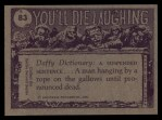1973 Topps You'll Die Laughing #83   I told you not to go w/out cap Back Thumbnail