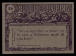 1973 Topps You'll Die Laughing #86   You forgot your oil can Back Thumbnail