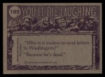 1973 Topps You'll Die Laughing #102   I'll be mummy's uncle Back Thumbnail