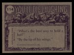 1973 Topps You'll Die Laughing #114   You've been in water so long Back Thumbnail