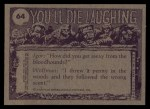 1973 Topps You'll Die Laughing #64   Taxi! Back Thumbnail