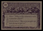1973 Topps You'll Die Laughing #88   I'll never find that fuse box! Back Thumbnail
