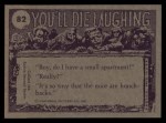 1973 Topps You'll Die Laughing #82   We're out of toilet paper Back Thumbnail