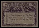 1973 Topps You'll Die Laughing #121   Don't take too much off the top Back Thumbnail