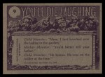 1973 Topps You'll Die Laughing #9   Lullaby and goodnight Back Thumbnail