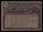 1973 Topps You'll Die Laughing #26   You're not going to that women's lib mtg Back Thumbnail
