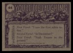1973 Topps You'll Die Laughing #44   Can you spare $50 for facelift? Back Thumbnail