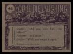 1973 Topps You'll Die Laughing #46   Yoo Hoo Ice Cream Man! Back Thumbnail