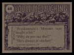 1973 Topps You'll Die Laughing #68   Look Albert hamburger stand Back Thumbnail