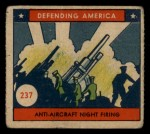 1941 W.S. Corp Defending America #237   Anti-Aircraft Night Firing Front Thumbnail