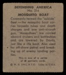 1941 W.S. Corp Defending America #214   Mosquito Boat Back Thumbnail