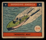 1941 W.S. Corp Defending America #214   Mosquito Boat Front Thumbnail