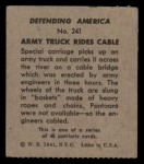 1941 W.S. Corp Defending America #241   Army Truck Rides Cable Back Thumbnail