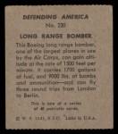 1941 W.S. Corp Defending America #230   Long Range Bomber Back Thumbnail