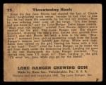 1940 Gum Inc. Lone Ranger #23   Threatening Hoofs Back Thumbnail