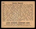 1940 Gum Inc. Lone Ranger #24   Smoke Signals Back Thumbnail