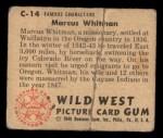 1949 Bowman Wild West #14 C Marcus Whitman  Back Thumbnail