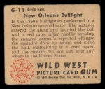1949 Bowman Wild West #13 G  New Orleans Bullfight Back Thumbnail