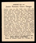 1931 Johnson Candy Dick Tracy R41 #144   Junior Foresees Grave Danger Back Thumbnail