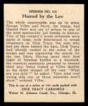 1931 Johnson Candy Dick Tracy R41 #121   Hunted by the Law Back Thumbnail