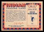 1959 Fleer Indian #19   Buffalo Horn Head Dress Back Thumbnail