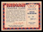 1959 Fleer Indian #51   Apache Masked Dancer Back Thumbnail