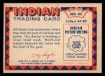 1959 Fleer Indian #45   Indian Dancer Back Thumbnail