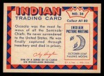1959 Fleer Indian #36   Osceola Back Thumbnail