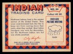 1959 Fleer Indian #44   Northwest Indian Rain Cap Back Thumbnail