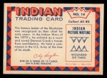 1959 Fleer Indian #14   Chief Washakie Back Thumbnail