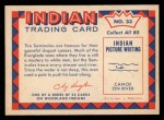 1959 Fleer Indian #33   Seminole Dugout Canoe Back Thumbnail