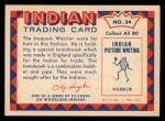 1959 Fleer Indian #34   -  Iroquois Warrior  Indian Iroquois Warrior Back Thumbnail