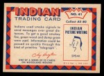 1959 Fleer Indian #41   Smoke Signals Back Thumbnail