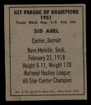 1951 Berk Ross #16 C Sid Abel  Back Thumbnail