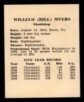 1941 Harry Hartman #19  Bill Myers  Back Thumbnail