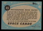 1957 Topps Space Cards #45   Photographing Moon Craters Back Thumbnail