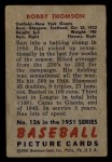 1951 Bowman #126  Bobby Thomson  Back Thumbnail