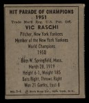 1951 Berk Ross #4 C Vic Raschi  Back Thumbnail
