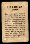1938 W711 Reds Team Issue #13  Lee Grissom  Back Thumbnail