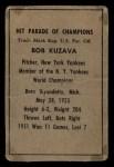1952 Berk Ross  Bob Kuzava  Back Thumbnail